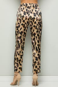 Contrast Statement Pants with Leopard Print - Brown - Back