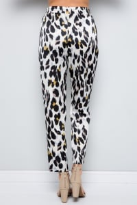 Contrast Statement Pants with Leopard Print - Cream - Back