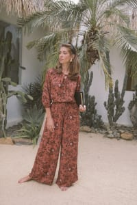 Fall Floral Wide-Leg Pants - Rust - Back