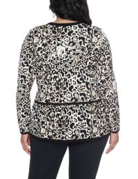 Leopard Jacquard Sweater Jacket - Plus - Bengal/Black - Back