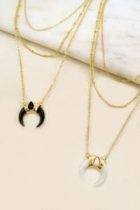 Boho Layered Necklace with Horn Pendant - White - Back