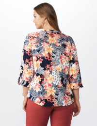 Lace Trim Patchwork Pintuck Popover - Navy/Coral - Back