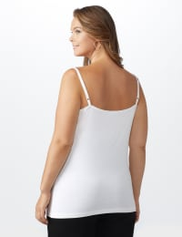 Lace Trim Rayon Spandex Cami - White - Back