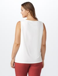 Roz & Ali Crochet Trim Crepe Hi/Lo Knit Top - Sugar Swizzle - Back