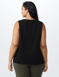 Roz & Ali Crochet Trim Crepe Hi/Lo Knit Top - Plus - Black - Back