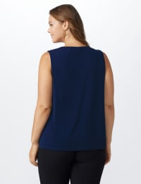 Roz & Ali Crochet Trim Crepe Hi/Lo Knit Top - Plus - Shipshape Navy - Back