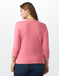 Roz & Ali Pointelle Button-Up Cardigan - Plus - Pink - Back