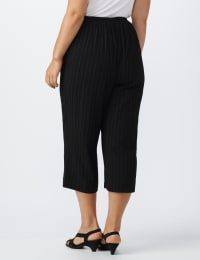 Plus Pleated Crop Pant  with button trim detail - Black - Back