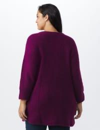 Westport Basketweave Stitch Curved Hem Sweater - Plus - Berry Wine - Back
