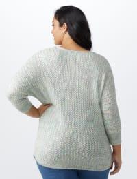 Westport Zig Zag Stitch Curved Hem Sweater - Plus - Back