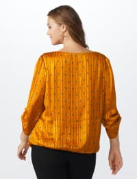 Roz & Ali Diamond Bubble Hem Blouse - Plus - Mustard - Back
