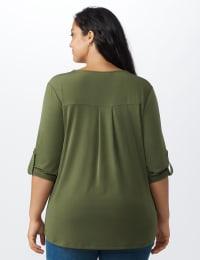 Roz & Ali Zip Front Knit Top - Plus - Olive - Back