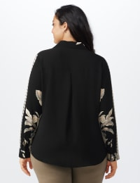 Roz & Ali Placement Print Blouse - Plus - Taupe/Black - Back