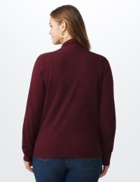 Roz & Ali Fringe Scarf Cardigan - Plus - Burgundy - Back
