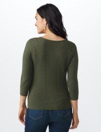 Roz & Ali Pointelle Button-Up Cardigan - Olive - Back