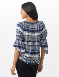 "Westport Denim Friendly ""On And Off The Shoulder"" Top - Blue - Back"