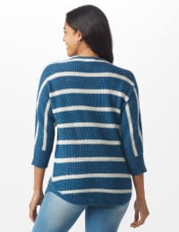 Westport Stripe Curved Hem Sweater - Misses - Vintage Denim/Silver - Back