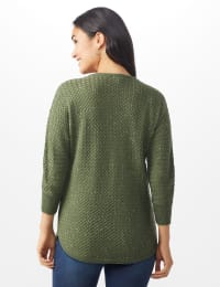 Westport Zig Zag Stitch Curved Hem Sweater - Misses - Dried Sage - Back