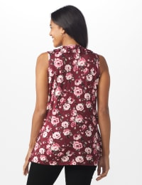 Sleeveless Bouquet Floral Tier Knit top - Misses - Burgundy/Rose - Back