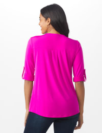 Roz & Ali Zip Front Knit Top - Misses - Bitter Berry - Back