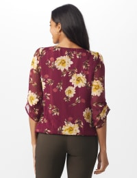 Roz & Ali Wine Floral Chain Bubble Hem Blouse - Misses - Wine - Back