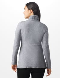 Roz & Ali Cable Front Buckle Cardigan - Misses - Heather Grey - Back