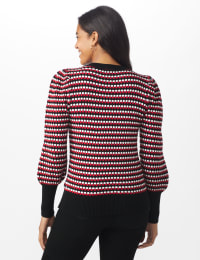 Roz & Ali Novelty Sleeve Stripe Pullover Sweater - Black/Red/White - Back