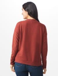 Ribbed Hacci Sweater Knit Top - Rust - Back