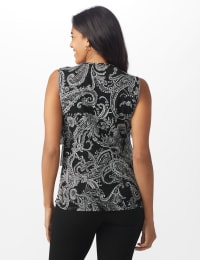 Westport Paisley Mesh Tiered Knit Top - Misses - Black - Back