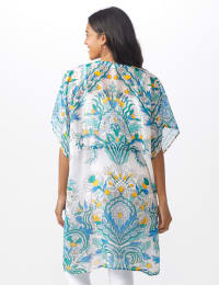 Paisley Tie Front Swim Cover up - Bright White - Back