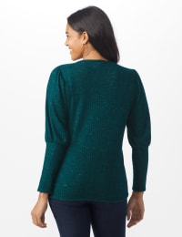 Puff Sleeve Hacci Rib Knit Top - Hunter - Back