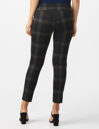 Pull On Plaid  Compression Fit Print Pant - Grey/rust - Back