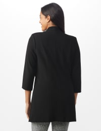 Notch Neck Topper with Side Tab and Buttons - Black - Back