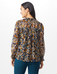 Navy Floral Blouse With Smocking And Lurex - Navy blazer/Sugar swizzle - Back