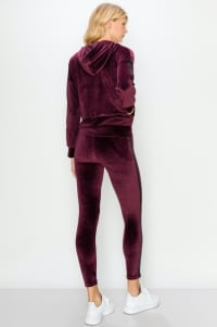Crop Velour Pullover Legging Set - Wine - Back