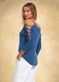 3/4 Sleeve Strappy Shoulder Knit Top - Denim Blue - Back