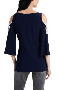 Crochet Cold Shoulder Tunic Knit Top - Misses - Navy/White - Back