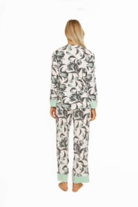 Long Sleeve Classic PJ Set - Aqua Floral - Back