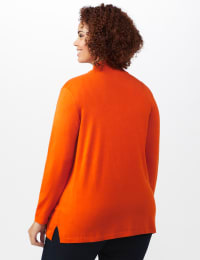 Roz & Ali Scallop Trim Cardigan - Plus - Goldspice - Back