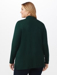 Roz & Ali Scallop Trim Cardigan - Plus - Pine Green - Back