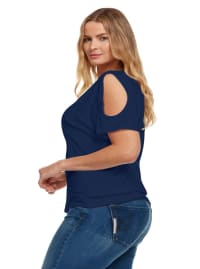 Cold Shoulder Basic V Neck Tee - Plus - Navy - Back