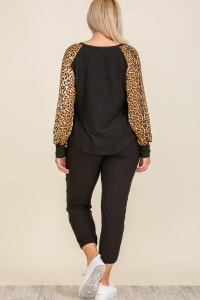 Leopard Print Lounge Set - Plus - Back