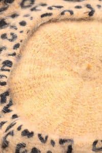 Leopard Print  Soft Beret Beanie - Brown - Back