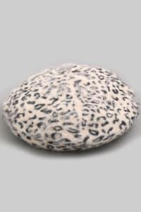 Leopard Print  Soft Beret Beanie - Ivory - Back