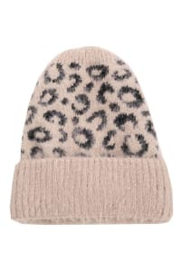 Leopard Print Soft Knitted Beanie - Pink - Back