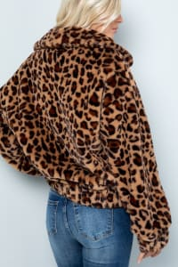 Faux Fur Leopard Plush Jacket - Leopard - Back