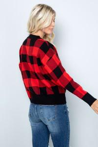 Plaid Sweater - Red / Black - Back