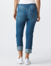Westport Signature  5 Pocket Girlfriend Jean With Selvedge Cuff - Medium Wash - Back