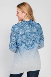 Border Print Cowl Neck Sharkbite Knit Top - Plus - Blue - Back