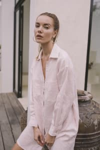 Linen Shirt - Light Blush - Back